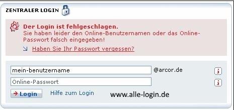 Arcor Mail Login vergessen