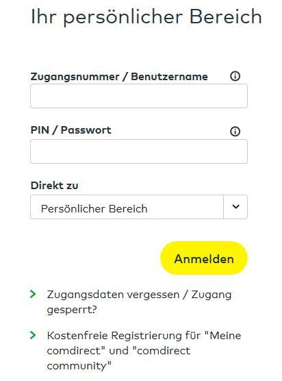 comdirect login Startseite