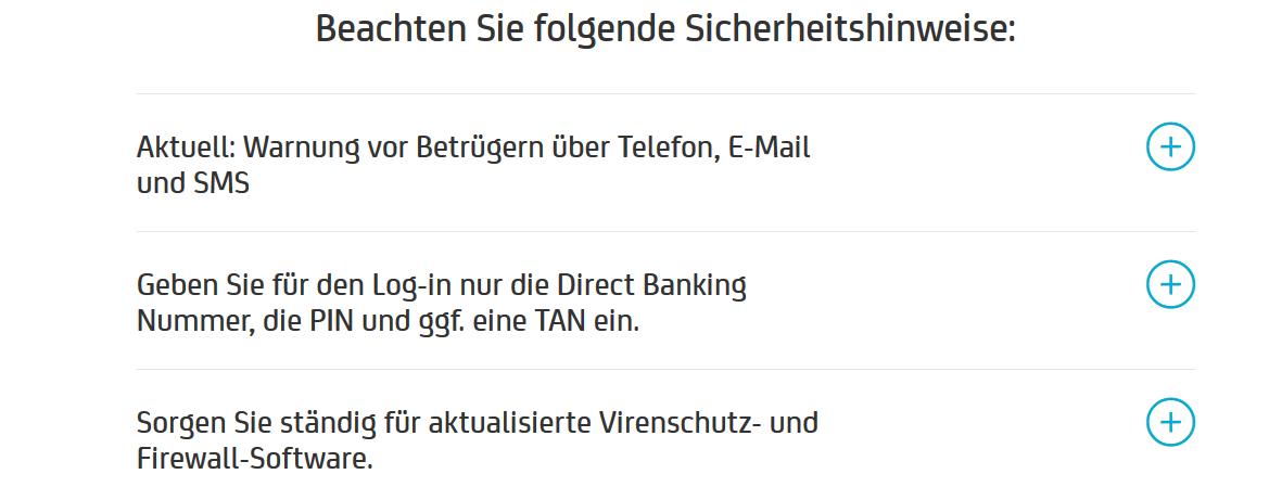 Sicherheitshinweise HypoVereinsbank HVB Login