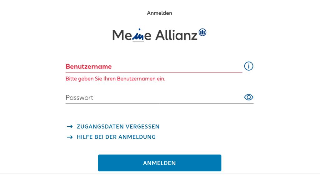 Allianz Login Dateneingabe